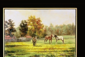 "Horses in a Pasture, 35"" x 40"" oil on linen"