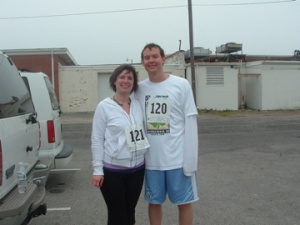Jessica and Jay Williams after the Lo Tide Run in Carolina Beach.