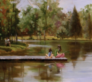 """Girls Fishing,"" an 'en plein air' painting by Kimberly Alvis"
