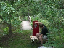 "Artist Scott Myers at work on an ""en plein air"" painting for Open Sky Art."