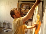 The artist at work in his downtown Raleigh studio.