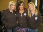 """Lather stylists Becky, Whitney and Lauren in their """"Latherwear"""" hoodies."""