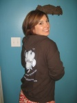"Lather owner Jessica Williams in a new ""Latherwear"" hoodie."