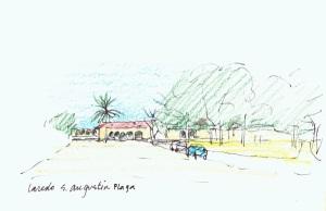 San Augustine Plaza, sketch by Frank Harmon