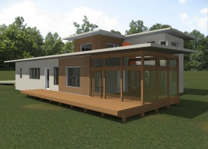 Rendering, rear corner at screened porch