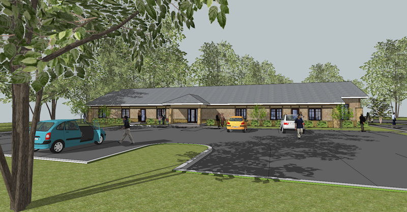 Rendering, front view, future New Life Fellowship hall and classroom building.